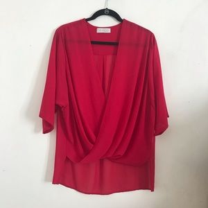 WAYF red draped blouse